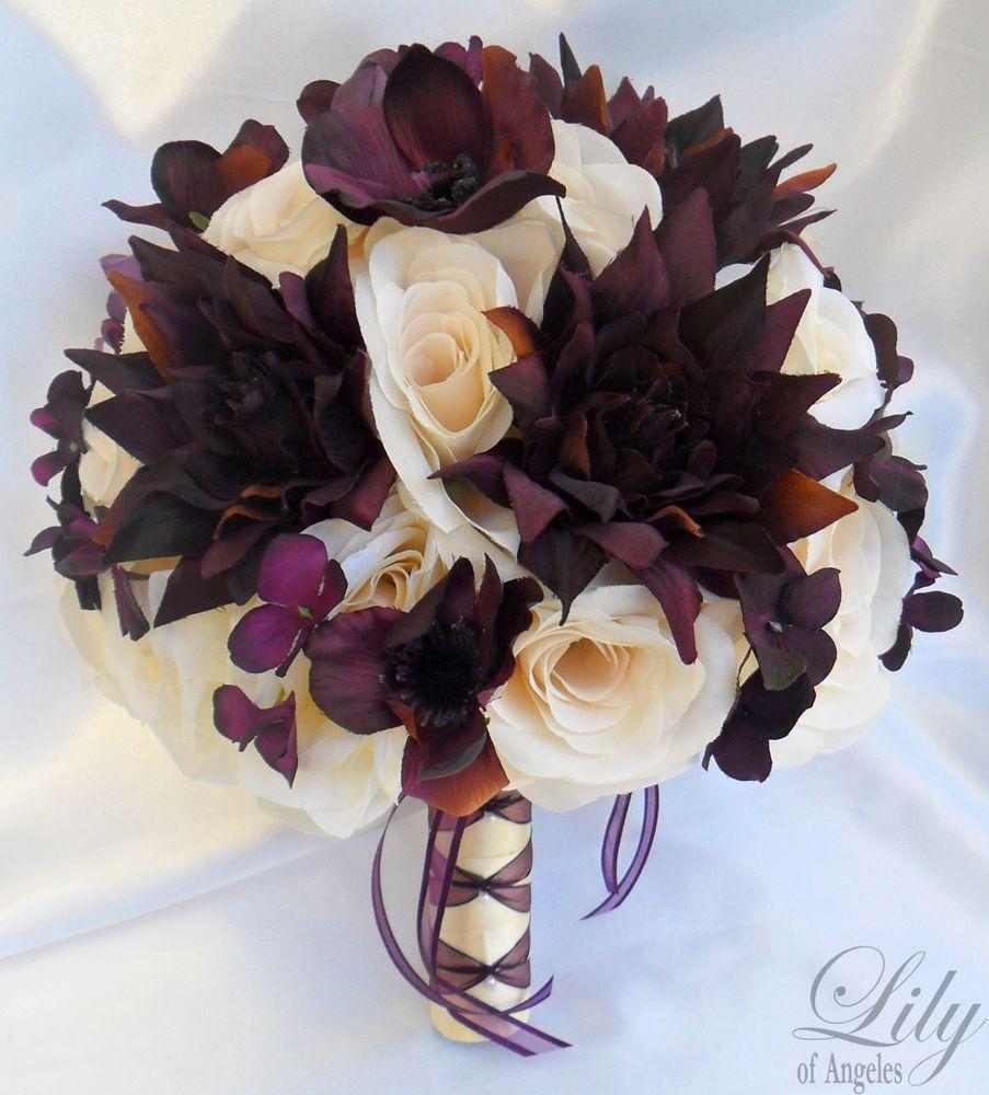 17 pcs Wedding Bridal Bouquet Set Decoration Package Silk Flowers ...