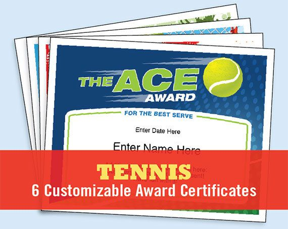 A Fun Collection Of Tennis Certificates Six In All For Your Tennis Tournament Tennis League Or High Scho Tennis Gifts Award Template Certificate Templates
