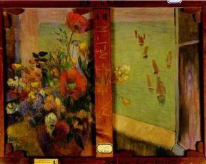 Букет цветов с открытым окном на море  - Поль Гоген