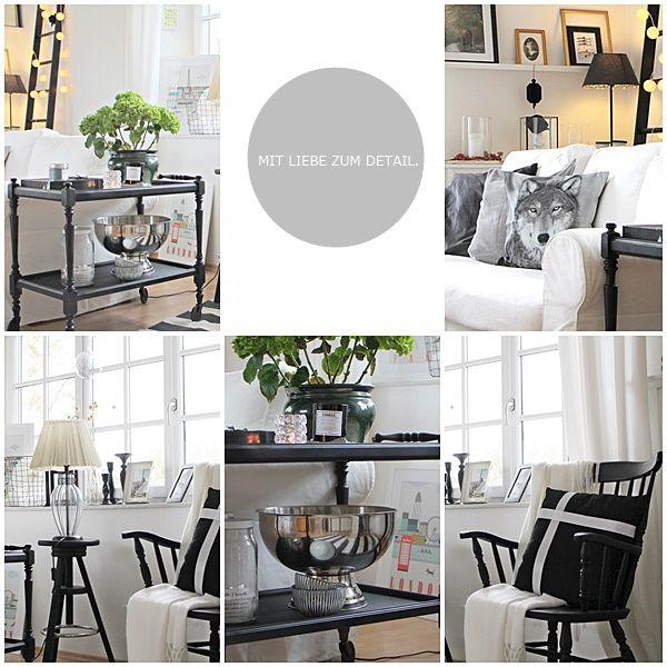 Herbstliches Ambiente in meinem Haus,in den Farben schwarz-weiß-grau ...