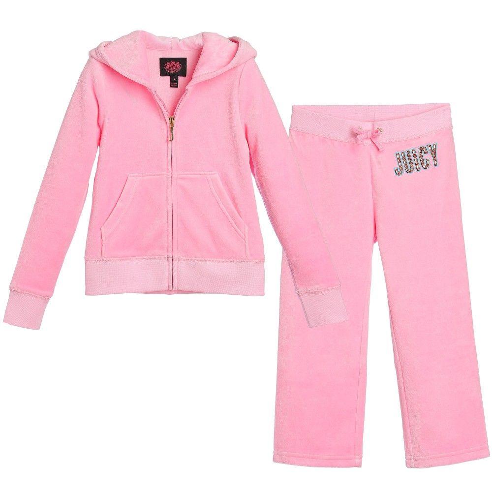 2c7b934b1978 Juicy Couture Girls Pink Velour Jewel Logo Tracksuit at Childrensalon.com