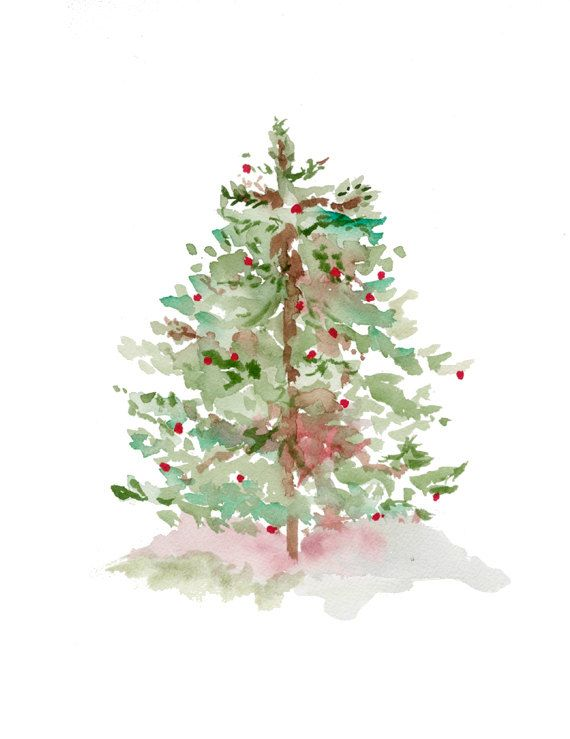 Tree Print From Original Watercolor, Christmas Holiday Art, Christmas Tree Watercolor, Tree Forest Art, Red and Green