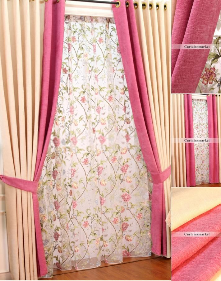 Graceful Chenille Living Room Pink and cream curtains | Cream ...