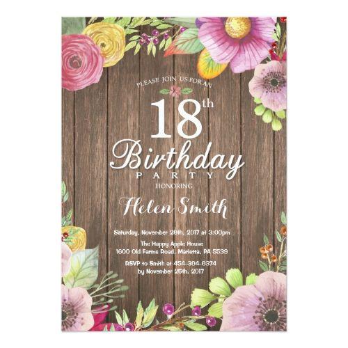 rustic floral 18th birthday invitation