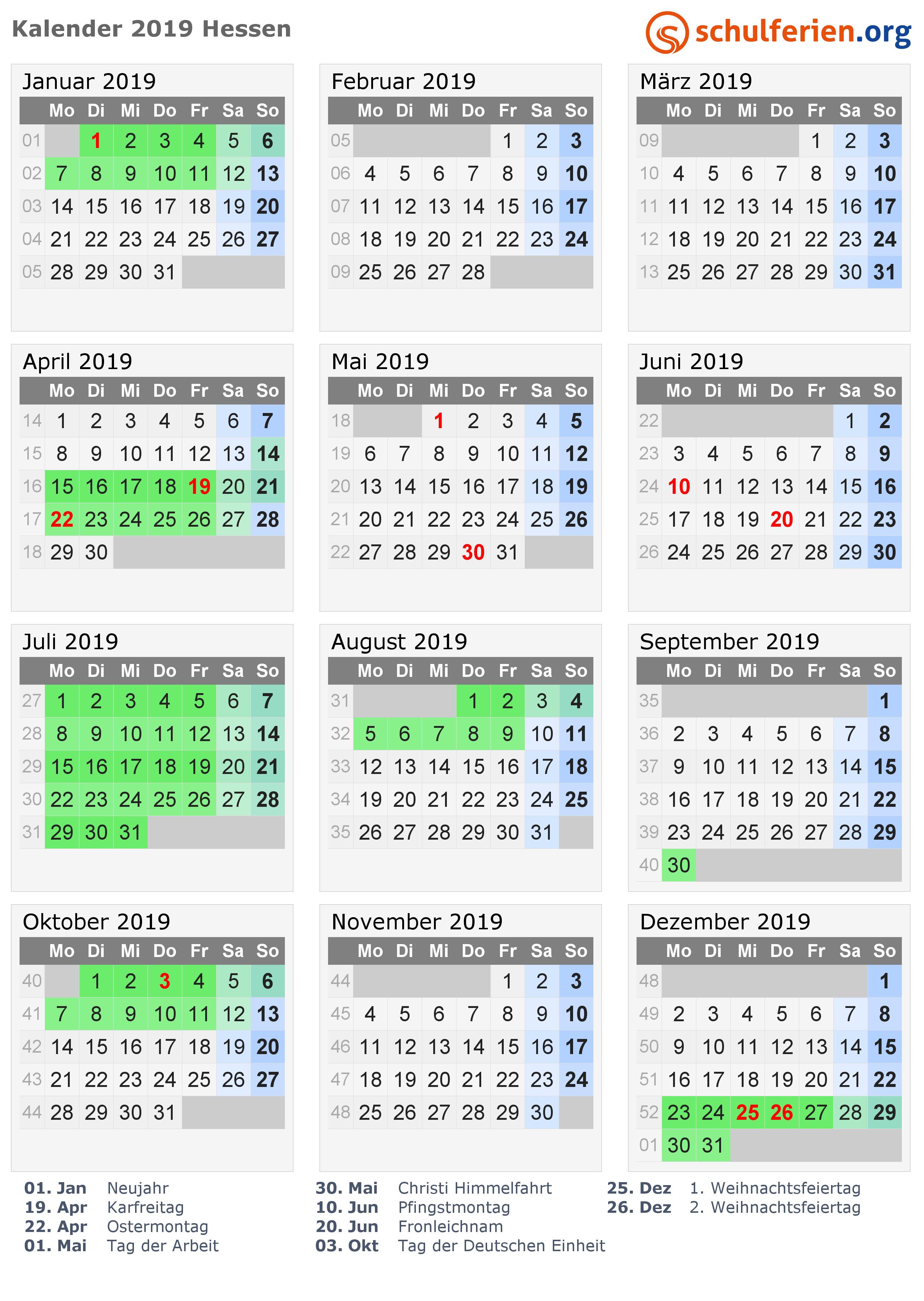 Kalender 2019 Mit Ferien Und Feiertagen Hessen Ferien 2017
