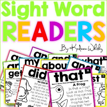 Sight Word Fluency Readers includes 100 simple sight word readers for K and 1. Each sight word page targets a specific sight word.This is great for weekly small group reading and sight word of the day or even for sight word centers. Students can highlight the sight words in the passage and color the picture. The words are in ABC order so that you can develop a sequence with your students and keep track of what you have read.