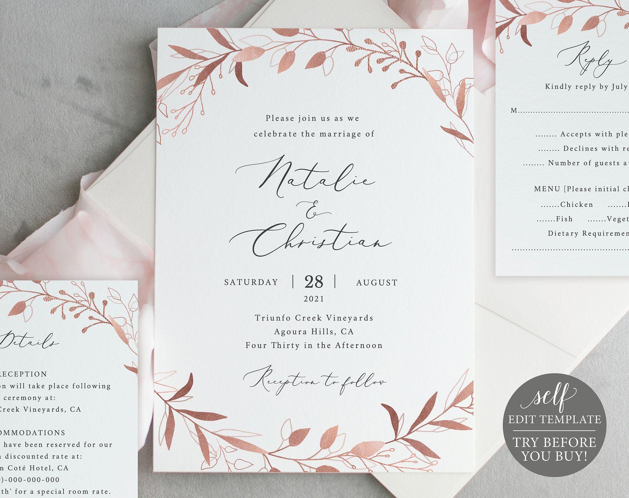 Wedding Invitation Template Set, Free Demo Available