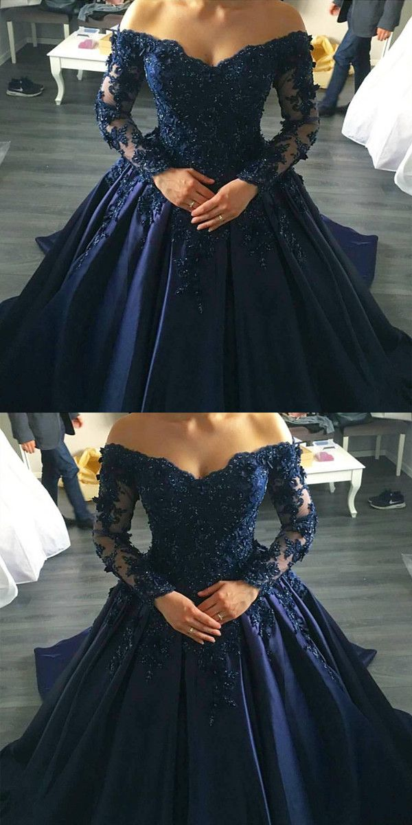 Navy blue lace appliques long sleeves ball gowns wedding for Midnight blue wedding dress