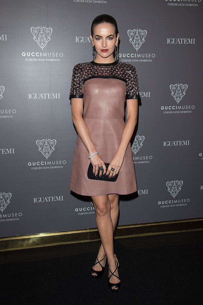 Camilla Belle arrived for the cocktail reception for the Gucci Museo Forever Now Exhibition in a sweet, crystal-studded leather design.