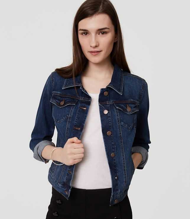 Thumbnail Image Of Color Swatch 6601 Image Of Petite Denim Jacket In Dark Classic Indigo Wash How To Wear Denim Jacket Petite Denim Jacket Jean Jacket Outfits