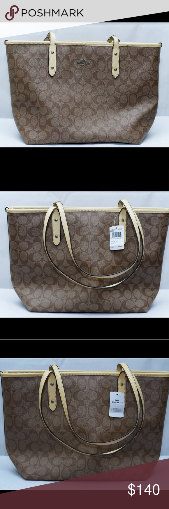 94472b52119 Coach signature City zip tote. coach factory Signature coated zip canvas  and leather trim Inside zip, cell phone and multifunction pockets Zip-top  closure, ...