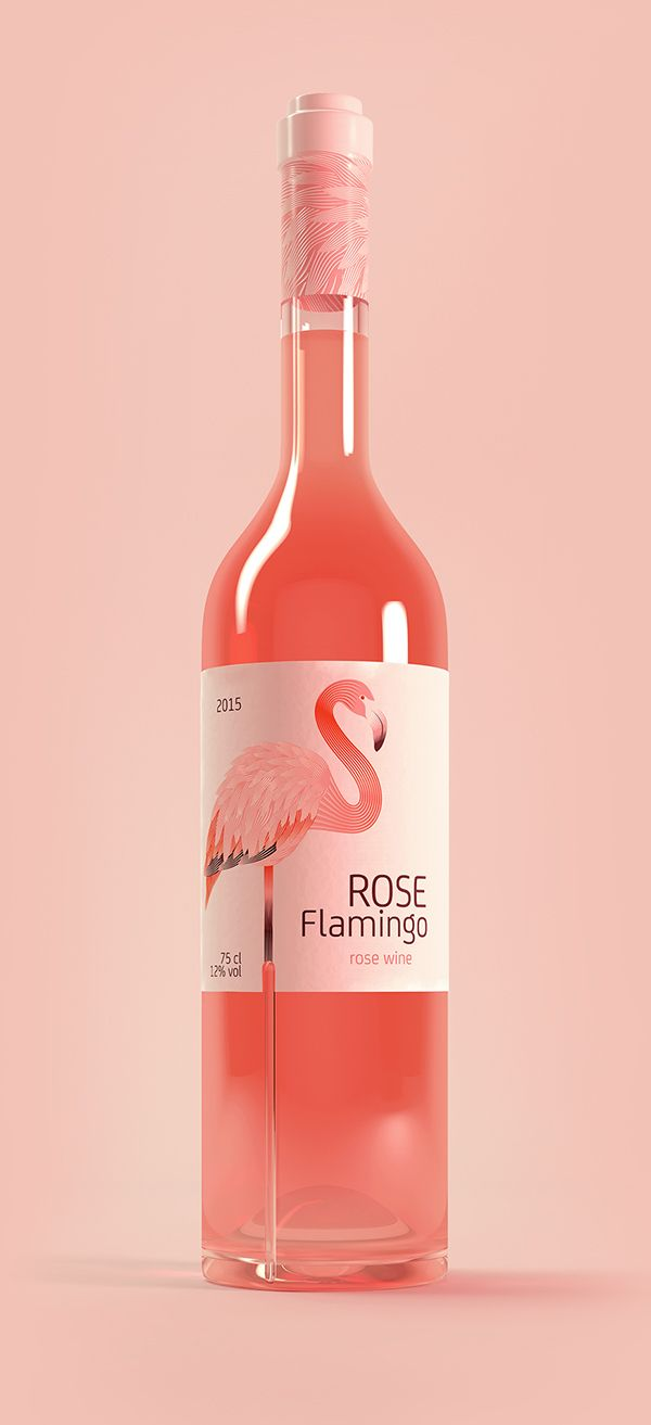 Rose Flamingo Wine On Packaging Design Served Wine Packaging Wine Bottle Design Wine Label Design