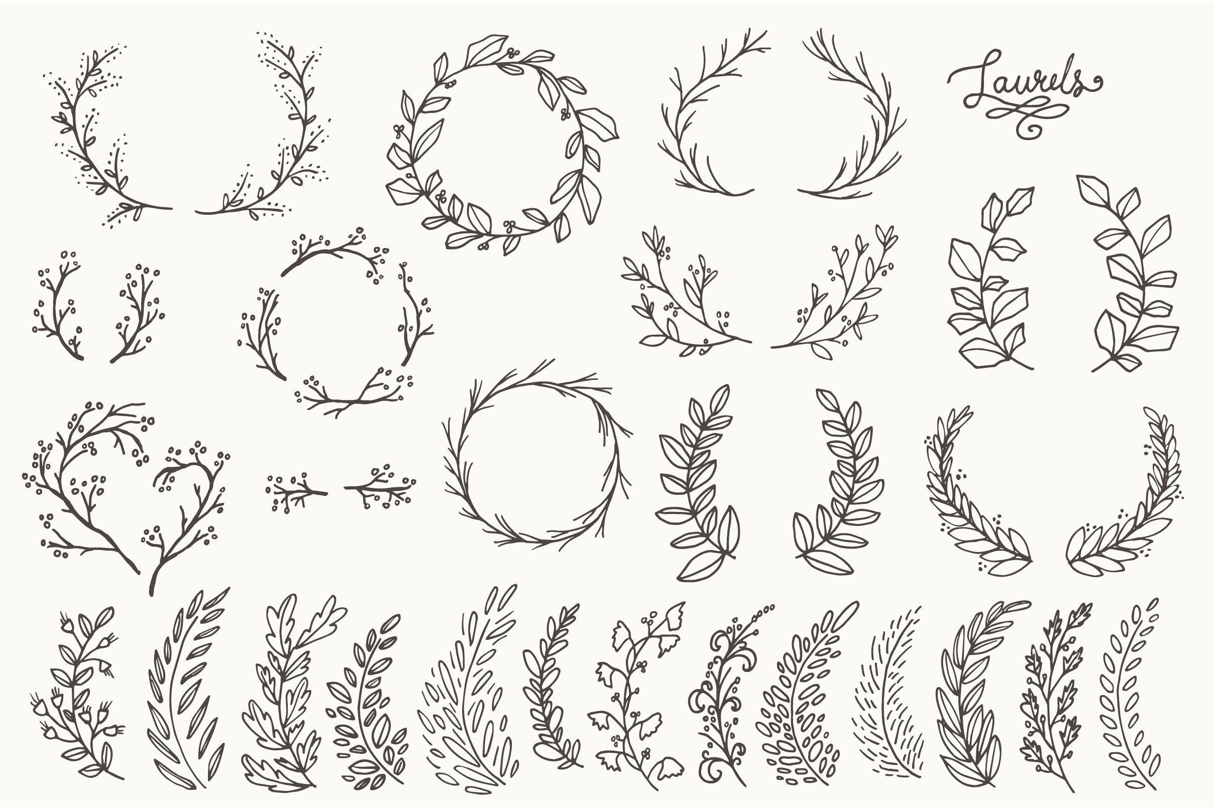 Whimsical Laurels Amp Wreaths Clip Art By The Pen Amp Brush On