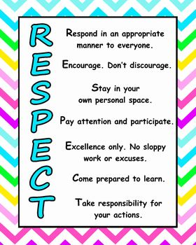 Bright Chevron Respect Poster Classroom Classroom Posters Poster Making
