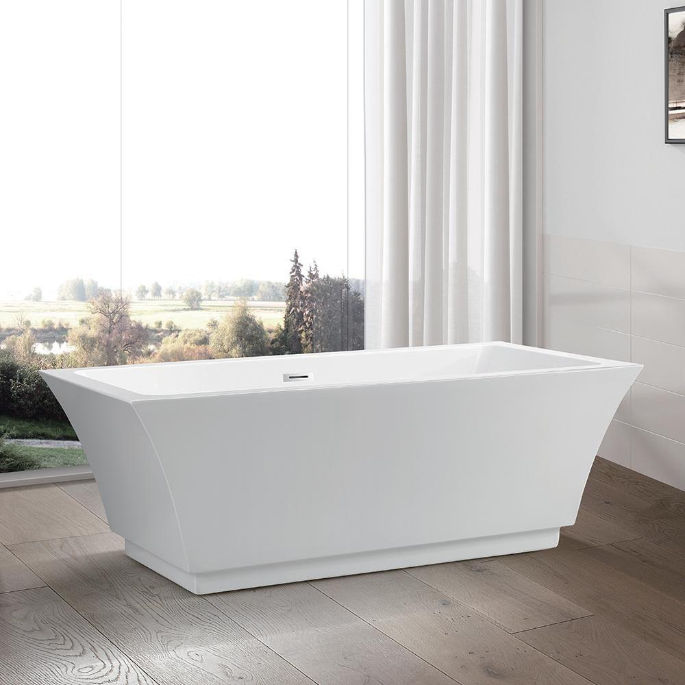 Vanity Art Strasbourg 67 In Acrylic Flatbottom Freestanding Bathtub In White Va6817 The Home Depot Free