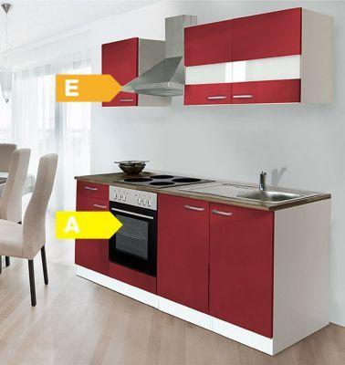 Respekta Küchenzeile KB210WR 210 cm Weiß - Rot Jetzt bestellen unter