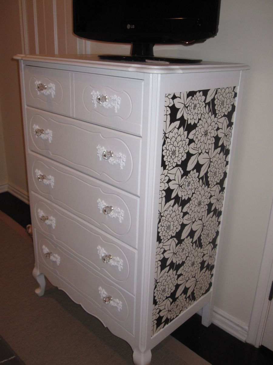Wallpaper Dresser Bureau Upcycle Revamp Dorm Decor Idea Bedroom