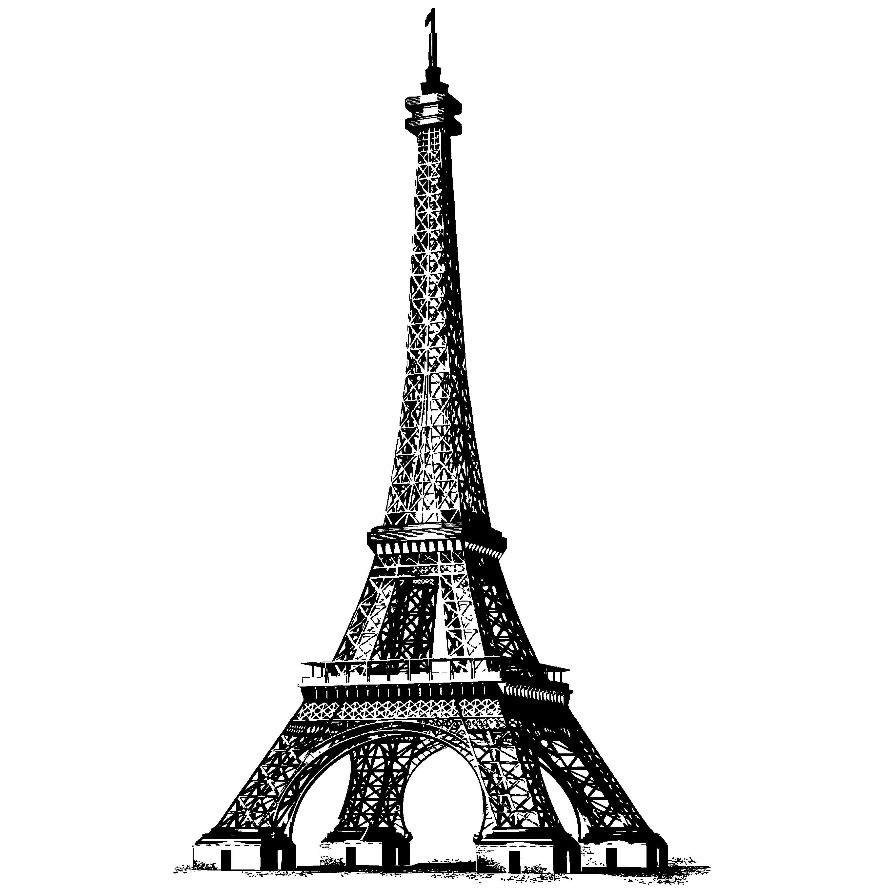 Eiffel tower one lined drawing slots art studio clipart