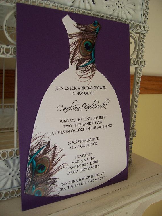 peacock bridal shower invitationcustom die by beautifullyinviting