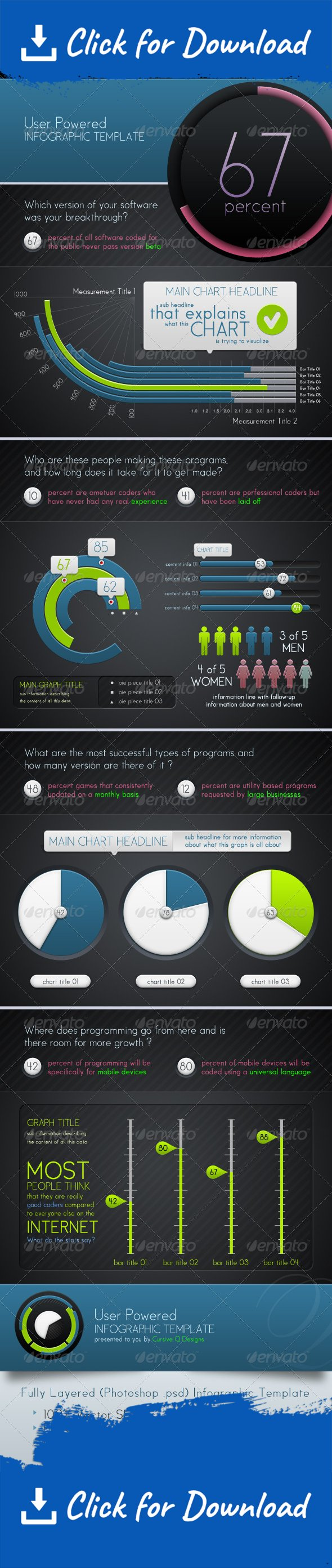 Infographic Template and Charts v5   Bar graphs, Vector shapes and ...