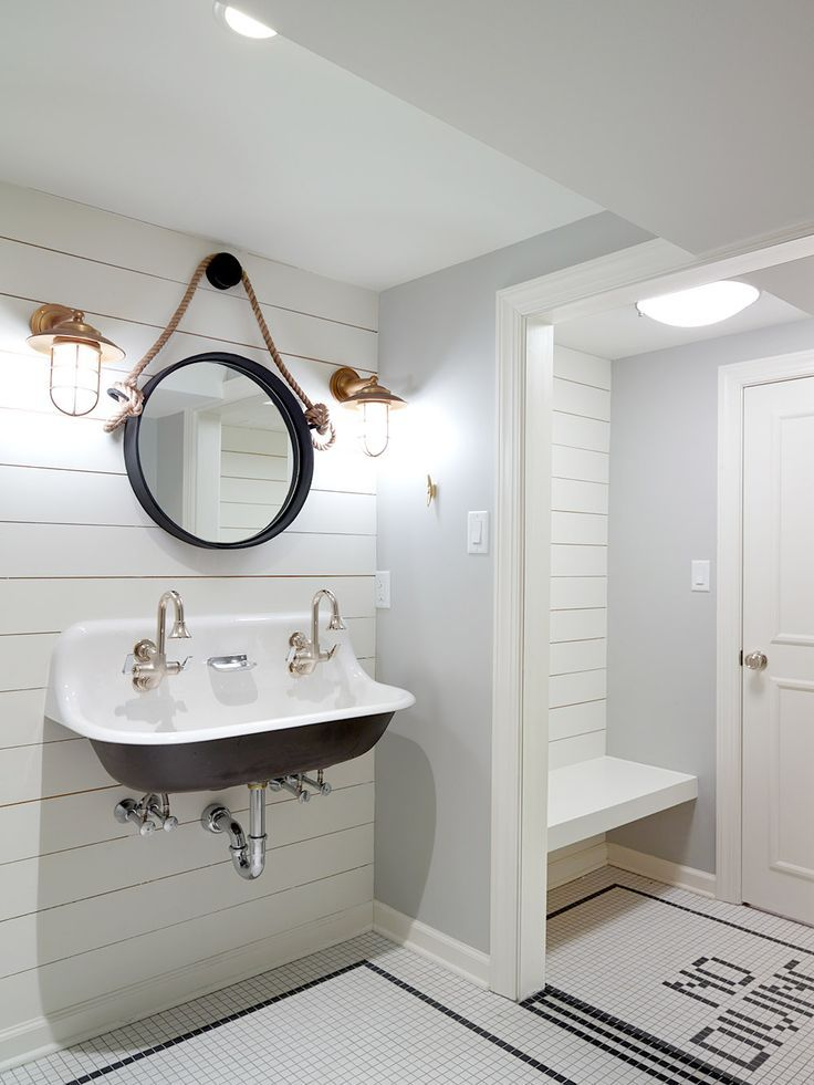 Nautical Changing Room For Pool House With White Ship Lap