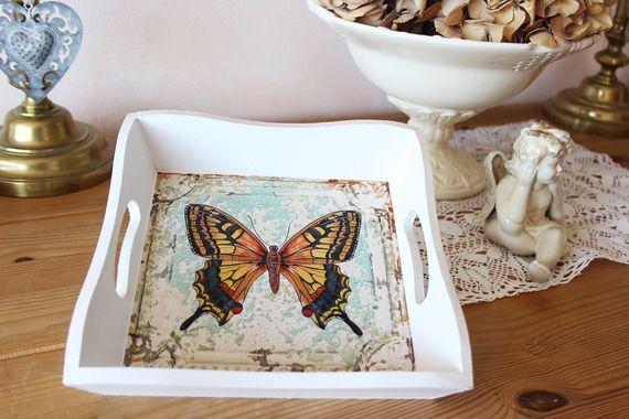 Vide poches, petit plateau carré romantique - Papillon - Effet shabby