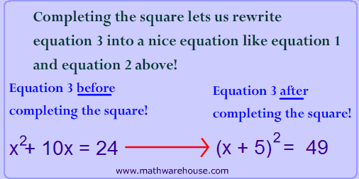 Completing The Square Algebra Pinterest Math Squares And Algebra
