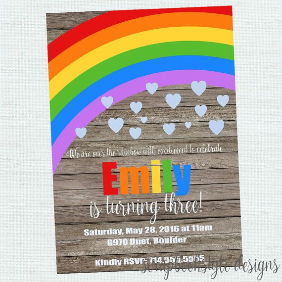 Rainbow Birthday Invitation Rainbow Invitation Rainbow Party