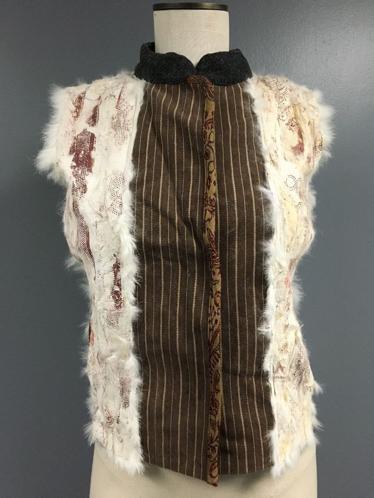 CHOCOLAT AU LAIT Multi Color Lapin  Hook + Loop Fur Vest NWT Sz 42 SMA9947 #ChocolatAuLait