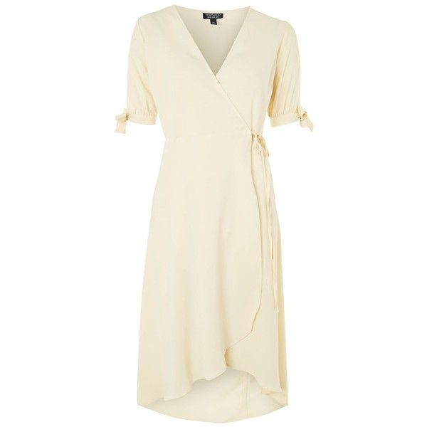 Topshop Tie Sleeve Wrap Dress 59 Liked On Polyvore Featuring Dresses Topshop Pale Yellow Brown Wrap Yellow Dress Outfit Brown Wrap Dress Wrap Tie Dress