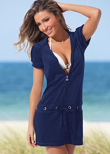f633689493e5 Hooded Terry Dress  34 Terry hooded dress · Zip front with grommet ...