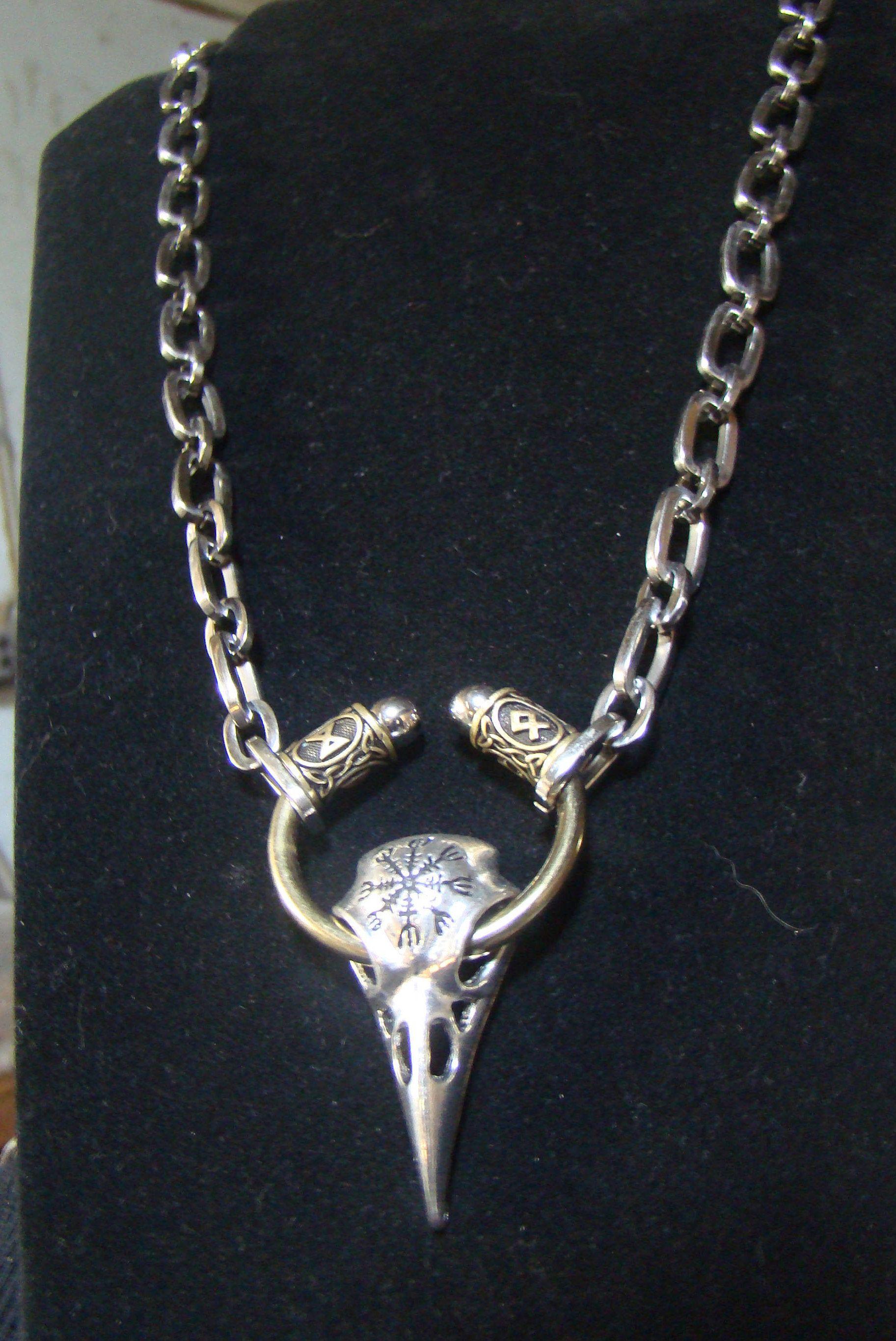 Helm of Awe Rune Necklace Viking Raven Skull Odin BADASS Viking Jewelry  Runes HEAVY Brass Ring 24