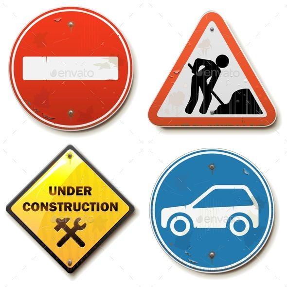 Vector Old Road Signs Road Signs Vector Illustrator Cs5