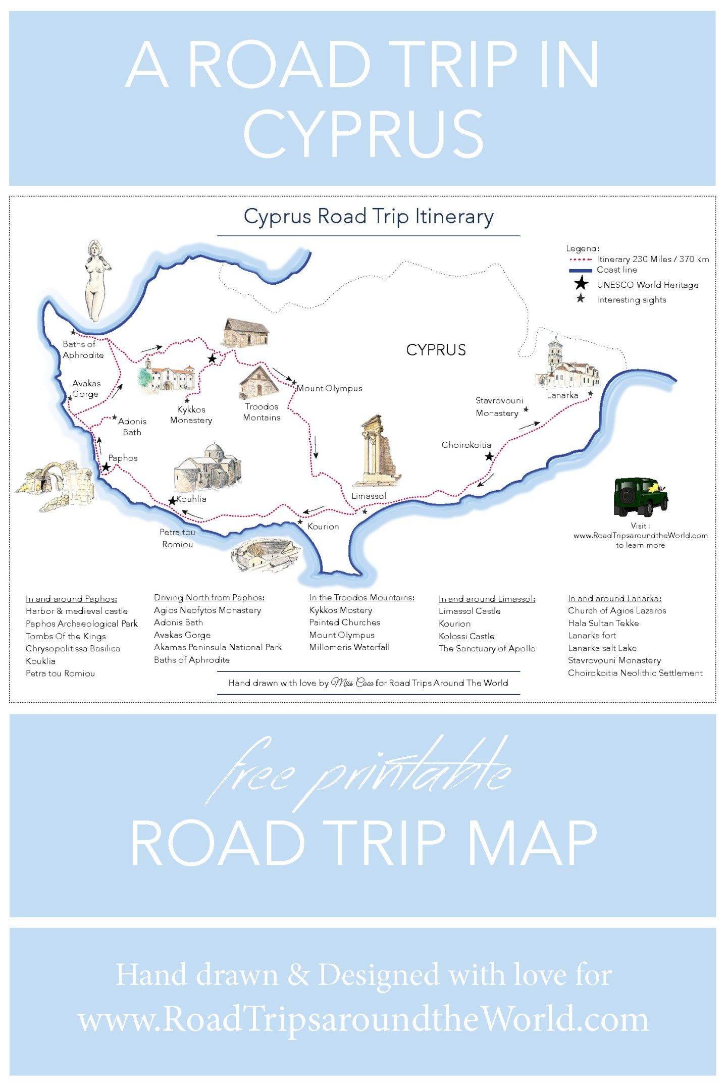 A road trip in cyprus free printable map road trips around the a road trip in cyprus free printable map road trips around the world gumiabroncs Choice Image