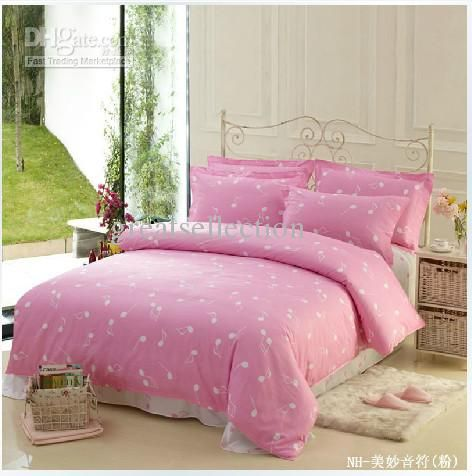 Buy Cheap Cottton 4pcs Pink Bedding Set Queen Music Note Comforter