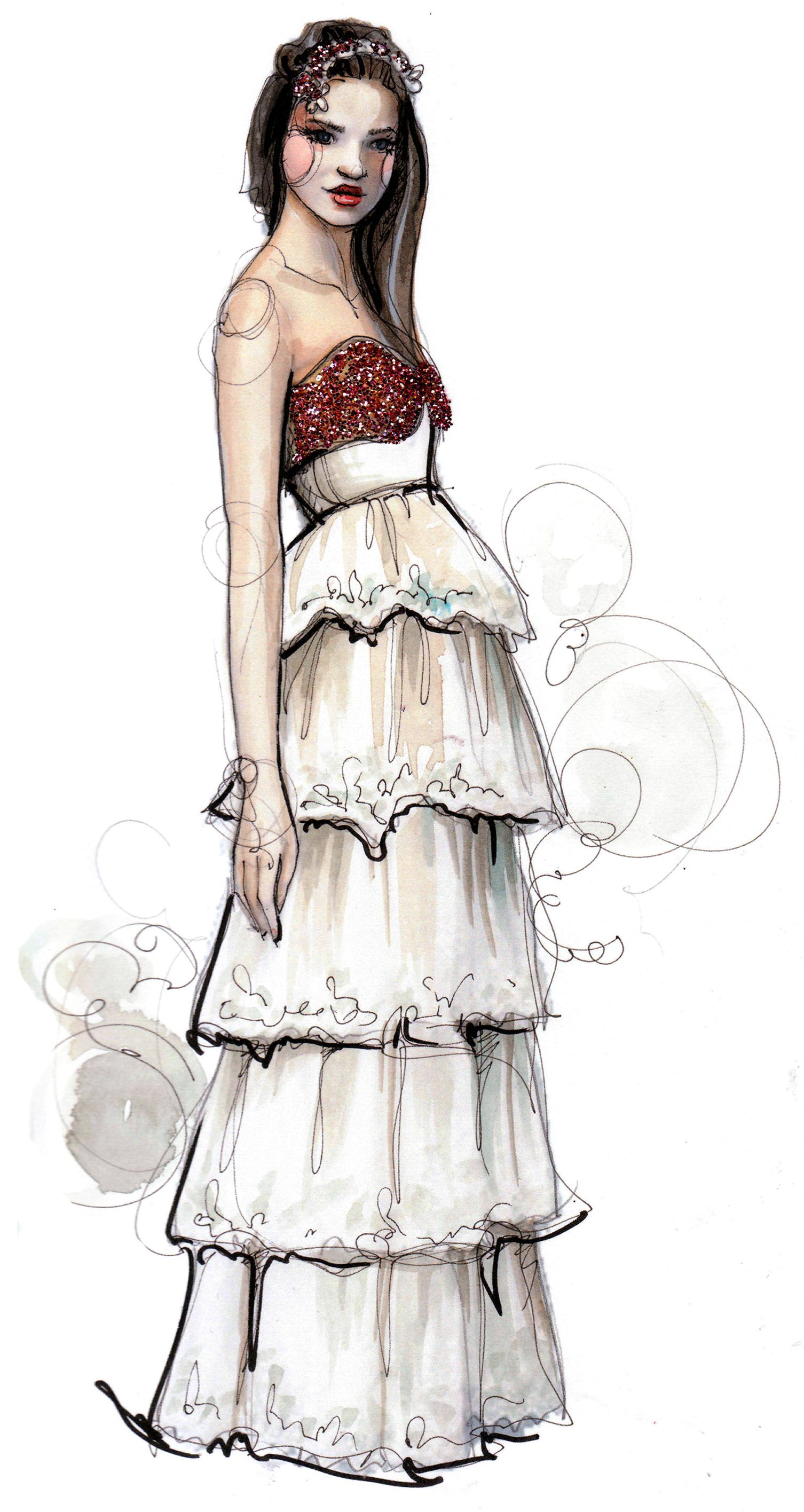 Dresses sketches drawing fashion