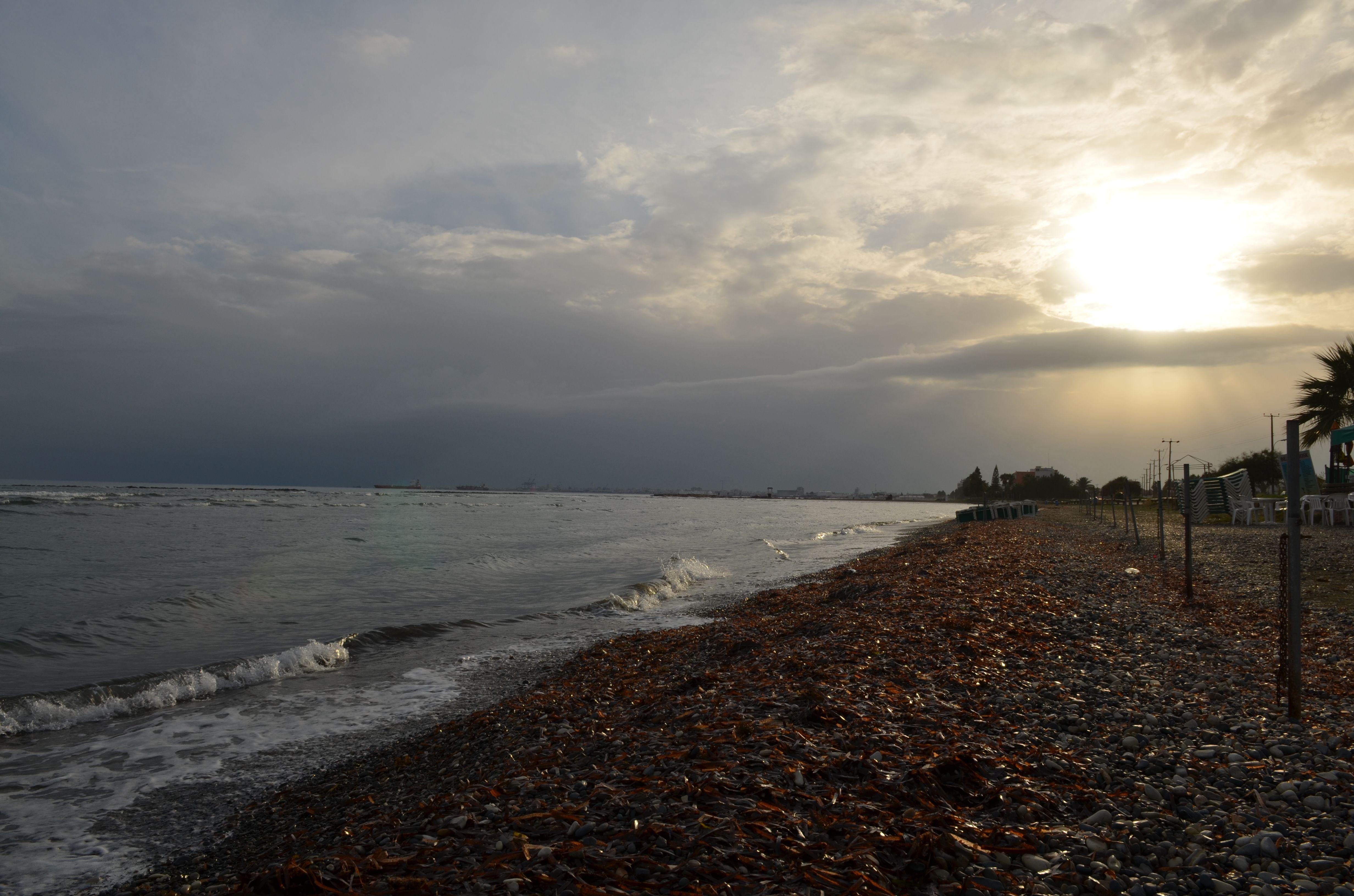 Sunset at Oroklini sea, Cyprus