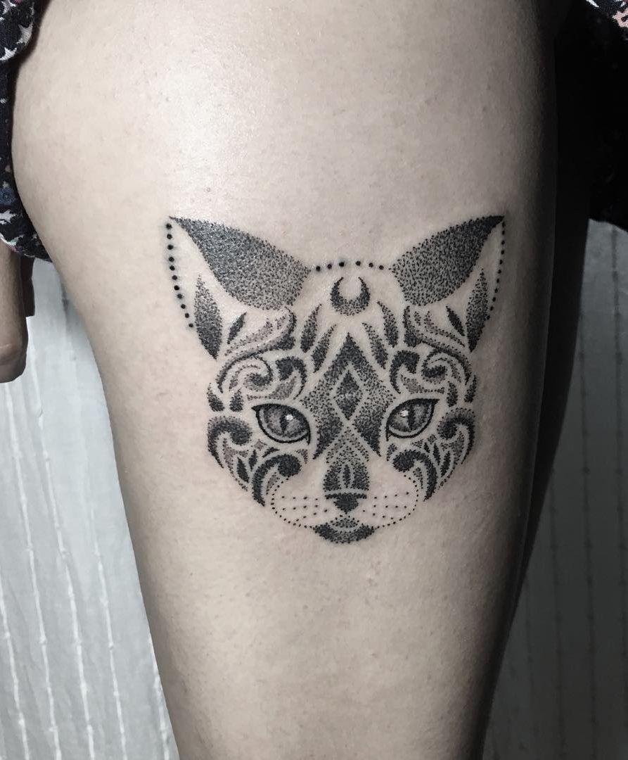 Dotwork Mandala Cat Tattoo C Tattoo Artist Soled Lennon Cat Tattoo Designs Tattoos Mandala Tattoo Design