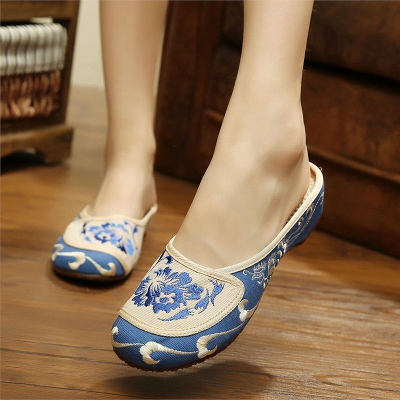 a1e63443a43 Hot sale vintage Summer Sexy women slippers Chinese embroidery shoes casual home  women flower flip flops floral butterfly mules  Affiliate