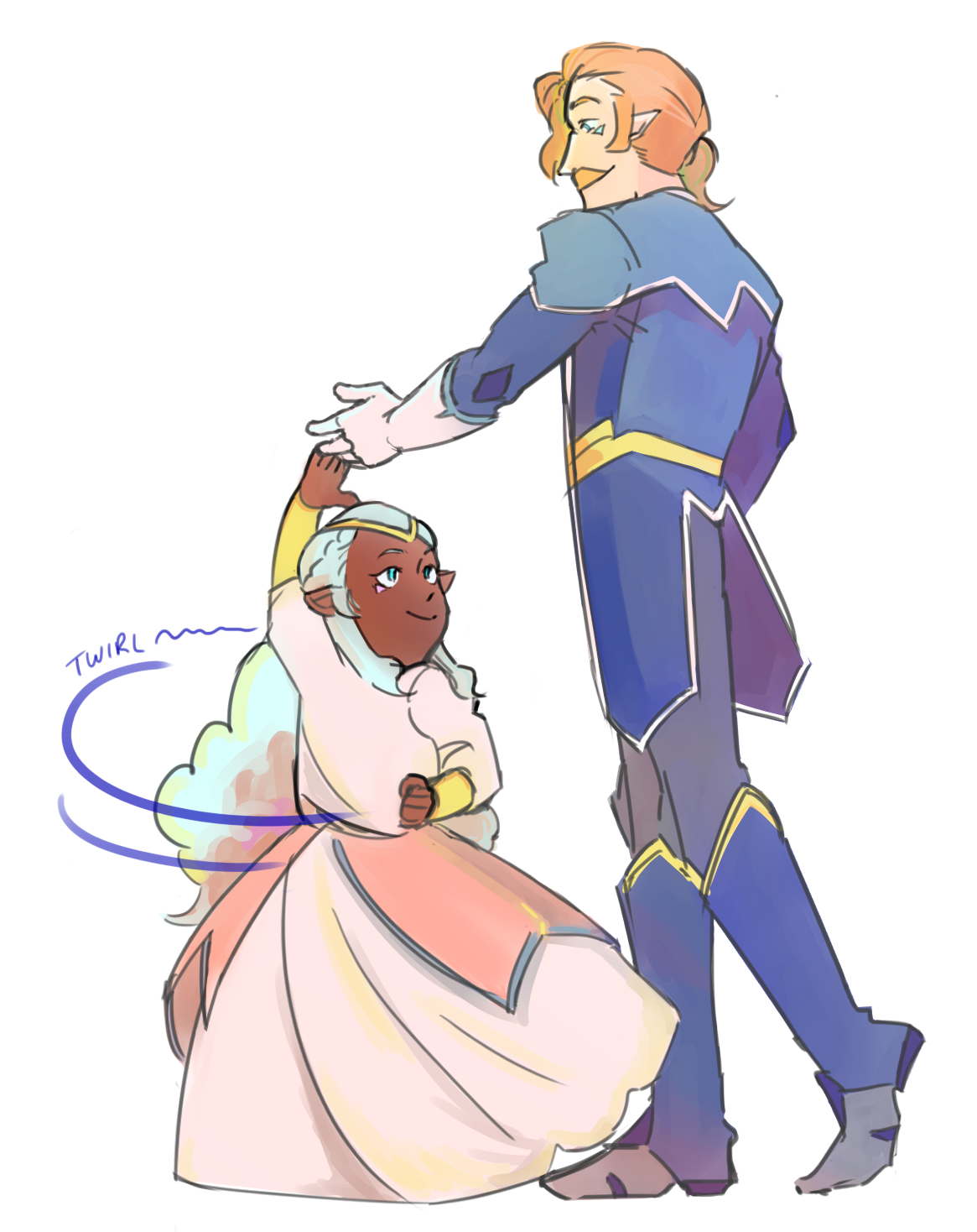 coran teaching young princess allura to dance from voltron legendary