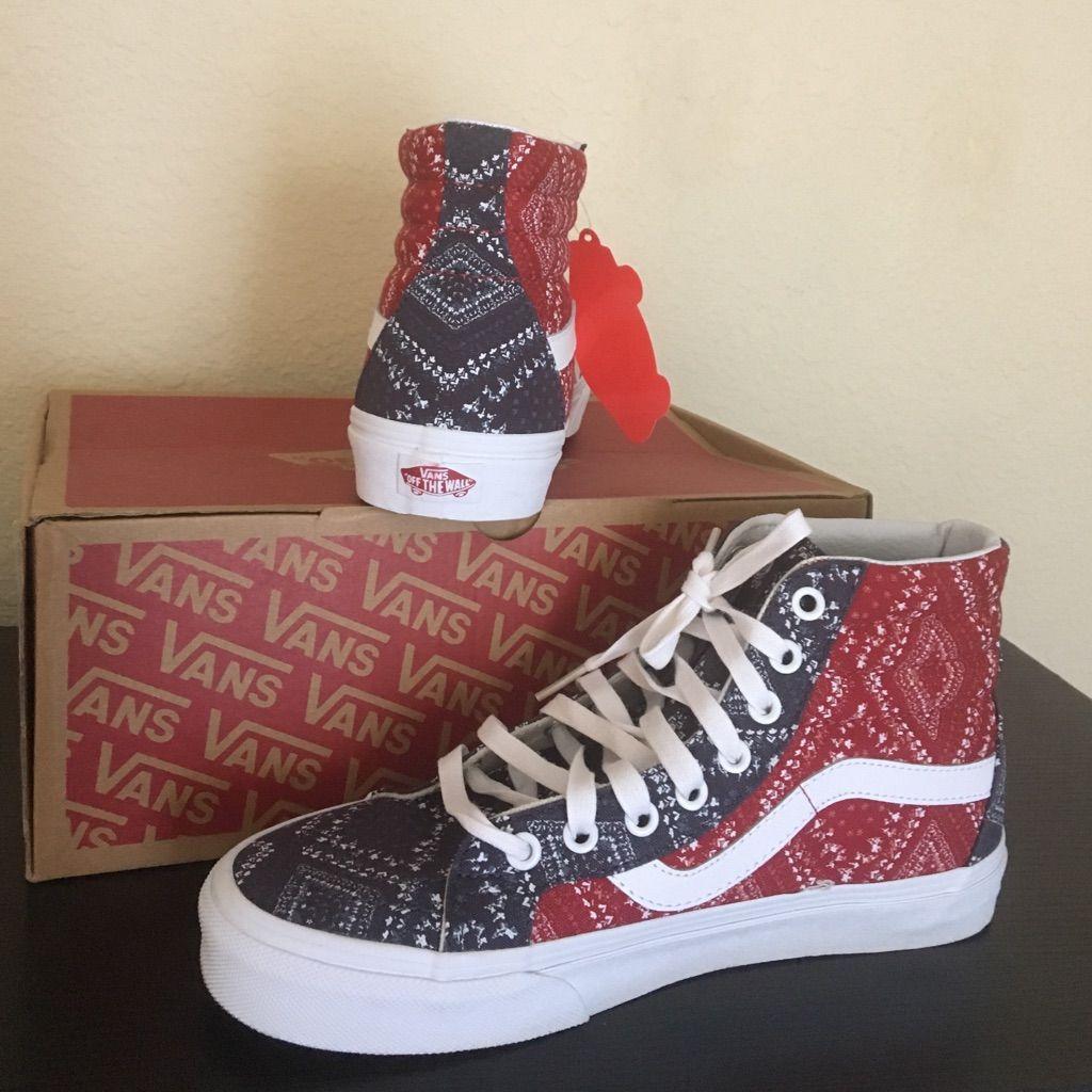 31b15dc5bd0 Vans Bandana Red Blue Shoes New