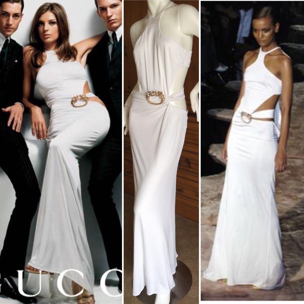 e474c015c Gucci by Tom Ford 2004 Iconic Daria Ad Campaign White Halter Dress Jewel  Dragon #Gucci