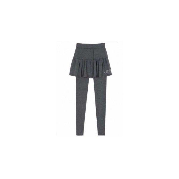 Two-piece Dark Grey Elastic Cotton Women Legging and Dress M/L... via Polyvore
