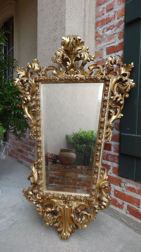 Antique French Carved Wood Gold Gilt Frame Beveled Wall
