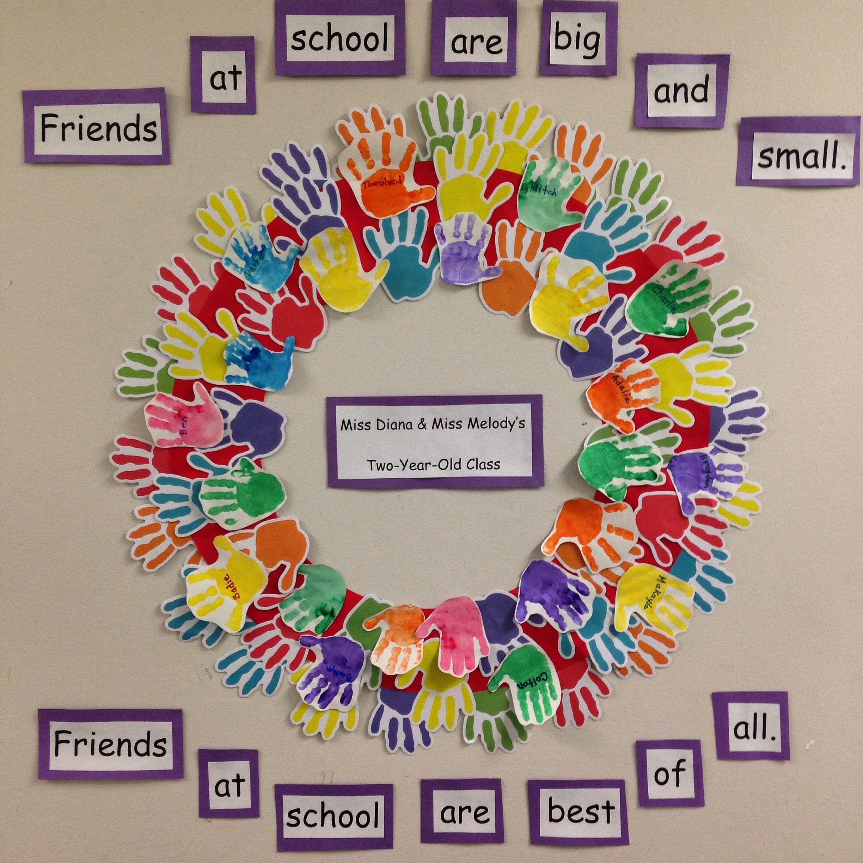 Sweet Handprint Friendship Wreath. Great Activity