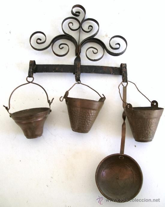 utensilios de cocina en miniatura con percha - cobre y hierro (28x14 ...