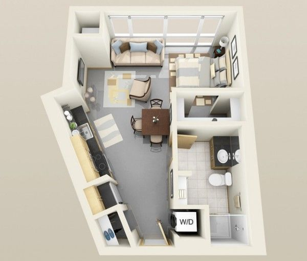 Find 1 Bedroom Apartment: Studio Apartment Floor Plans