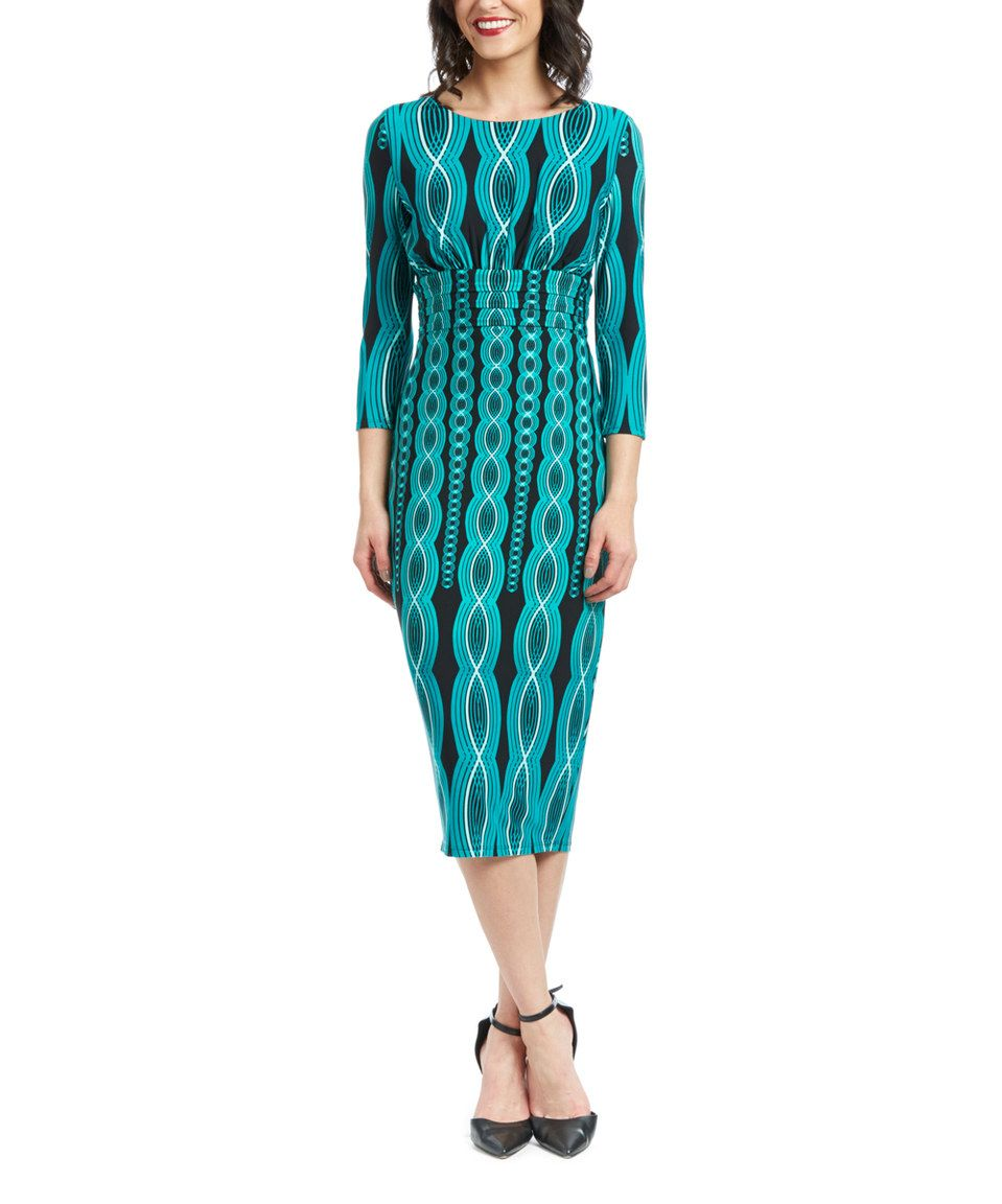 Another great find on #zulily! Sangria Black & Veridian Geometric Midi Dress by Sangria #zulilyfinds