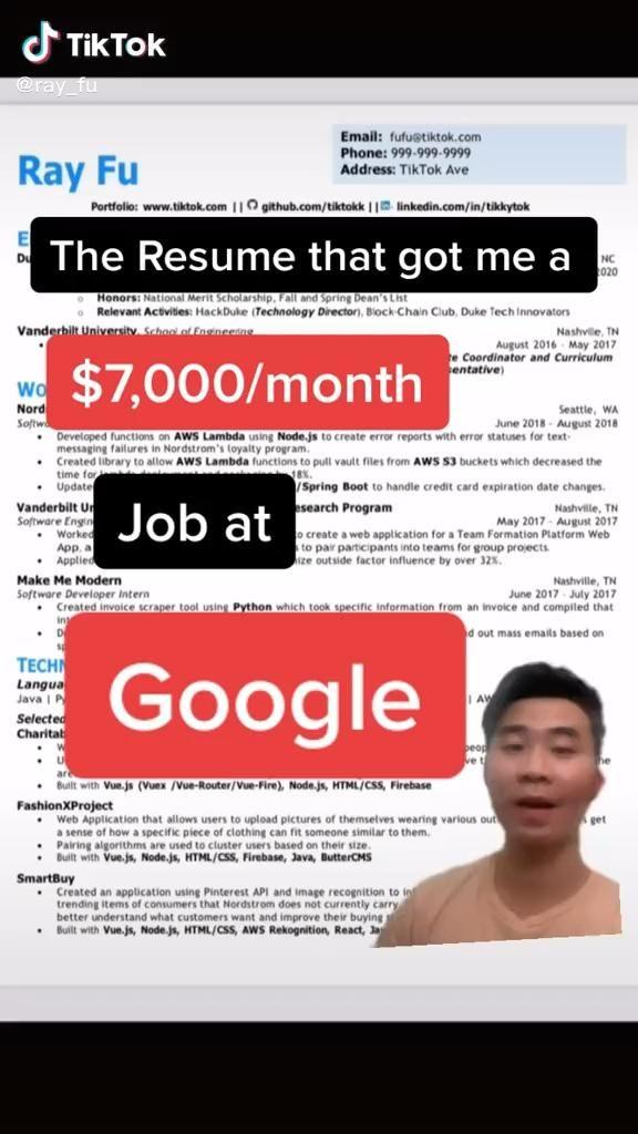 Ray Fu Video In 2020 Resume Tips Resume Career Advice