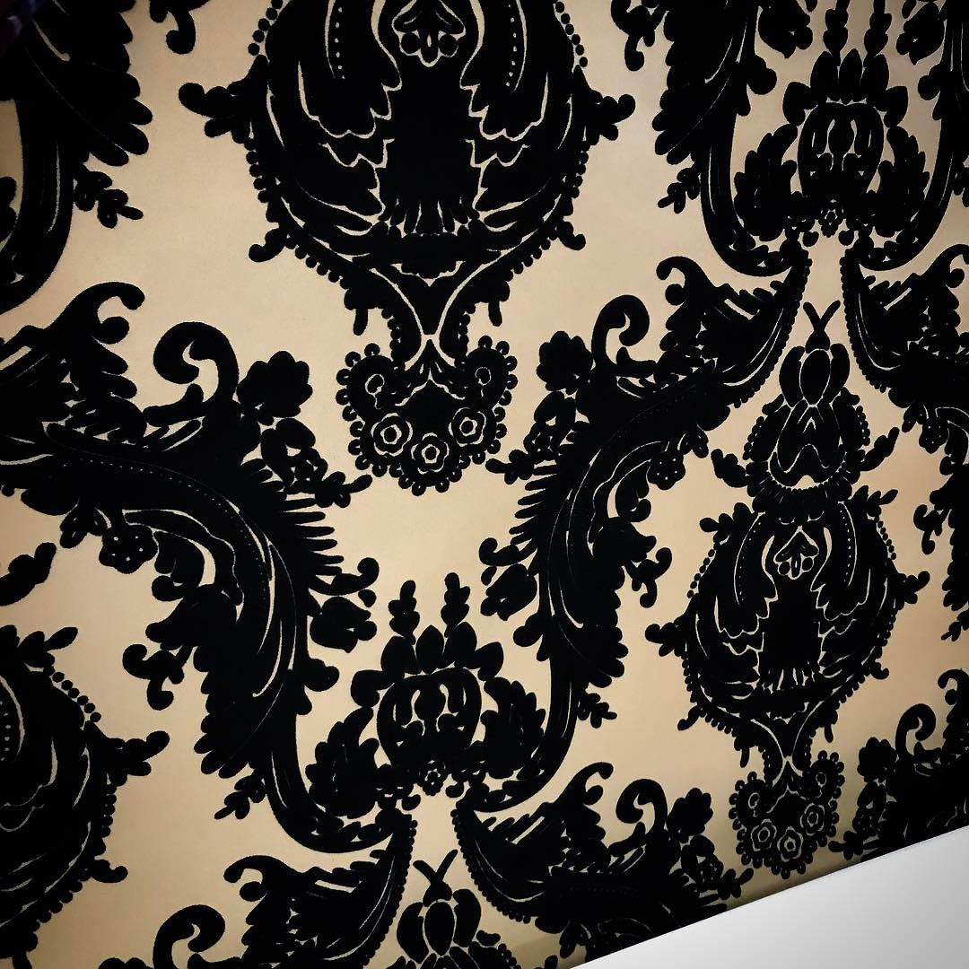 Luxury Flock Velvet Wallpaper Made To Our Client S Specifications In Matte Gold And Black Wallpaper Wallcoverings Custom Wallpaper Matte Gold Wallpaper